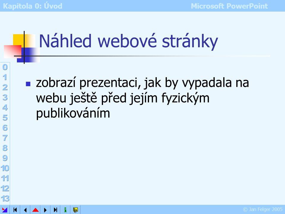 Kapitola 0: Úvod Microsoft PowerPoint © Jan Felger 2005 Další upřesnění převodu prezentace do podoby webové stránky Soubor – Uložit jako webovou strán