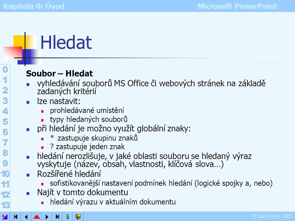 Kapitola 0: Úvod Microsoft PowerPoint © Jan Felger 2005 Náhled webové stránky zobrazí prezentaci, jak by vypadala na webu ještě před jejím fyzickým pu