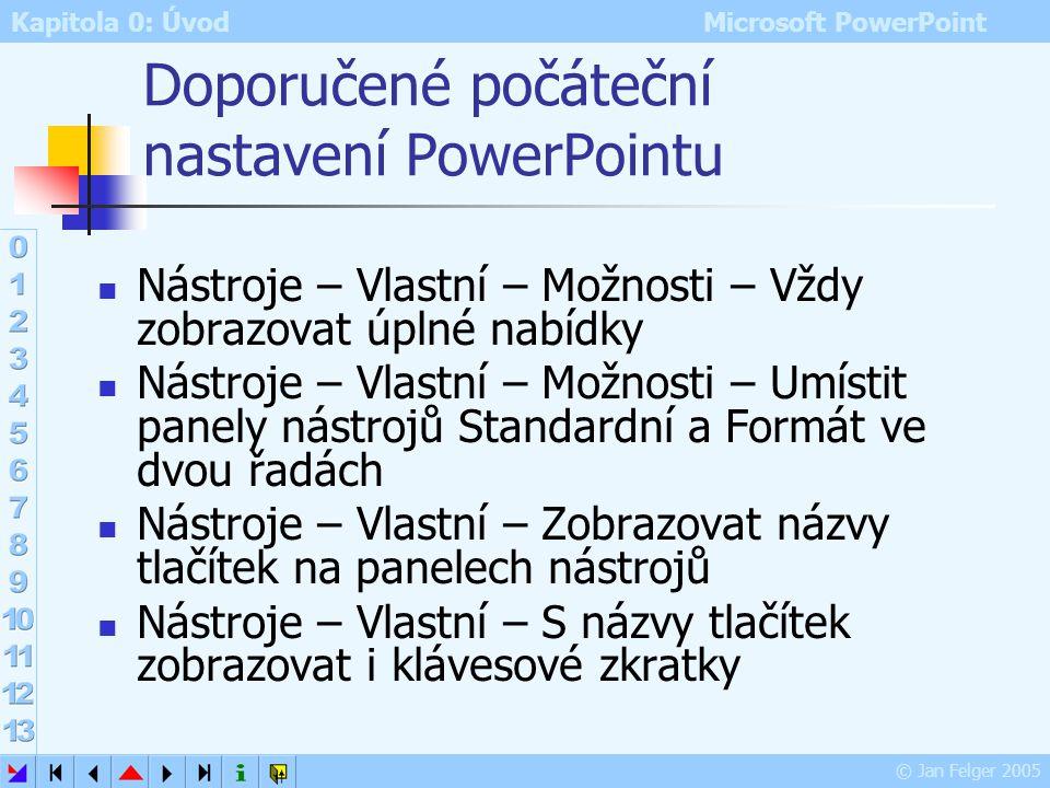 Kapitola 0: Úvod Microsoft PowerPoint © Jan Felger 2005 Prezentace pomocí Průvodce Zobrazit – Podokno úloh – Nová prezentace – Ze stručného průvodce T