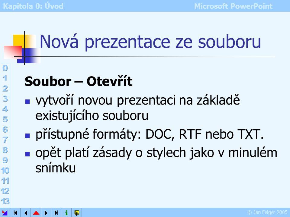 Kapitola 0: Úvod Microsoft PowerPoint © Jan Felger 2005 Snímky z osnovy Vložit – Snímky z osnovy import snímků z dokumentu MS Wordu ve Wordu je nutno