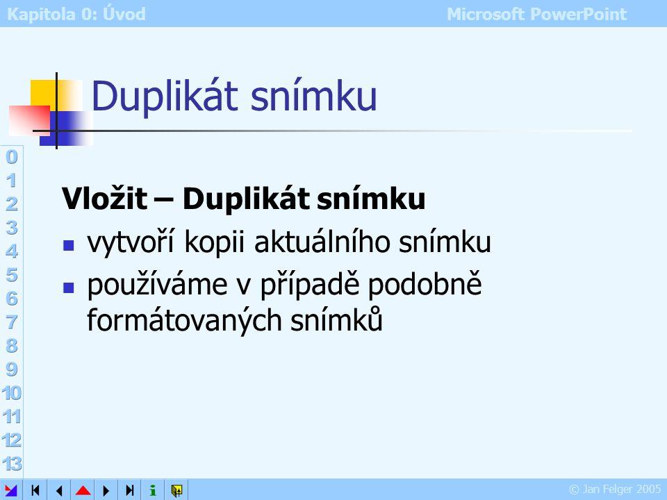 Kapitola 0: Úvod Microsoft PowerPoint © Jan Felger 2005 Ukázka tabulky MČjAj Karel423 Pepa152 Jana231 Alena443