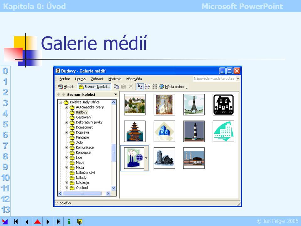 Kapitola 0: Úvod Microsoft PowerPoint © Jan Felger 2005 Grafika na PC Základní informace Rastrová grafika (bitmapy) obrázek se skládá z malých barevný