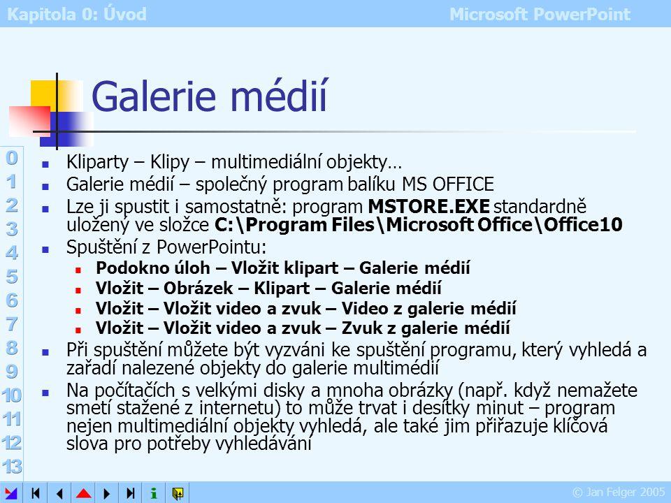 Kapitola 0: Úvod Microsoft PowerPoint © Jan Felger 2005 Galerie médií