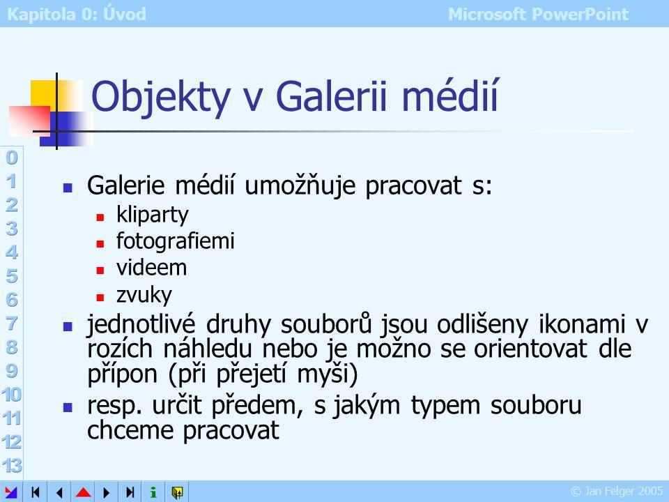 Kapitola 0: Úvod Microsoft PowerPoint © Jan Felger 2005 Galerie médií Kliparty – Klipy – multimediální objekty… Galerie médií – společný program balík