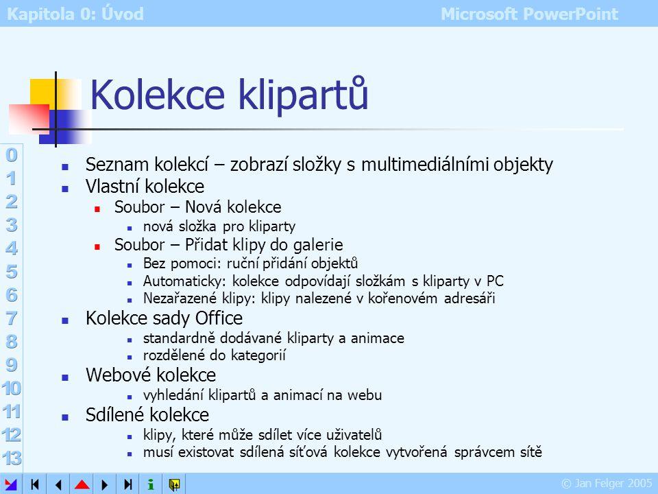 Kapitola 0: Úvod Microsoft PowerPoint © Jan Felger 2005 Objekty v Galerii médií Galerie médií umožňuje pracovat s: kliparty fotografiemi videem zvuky