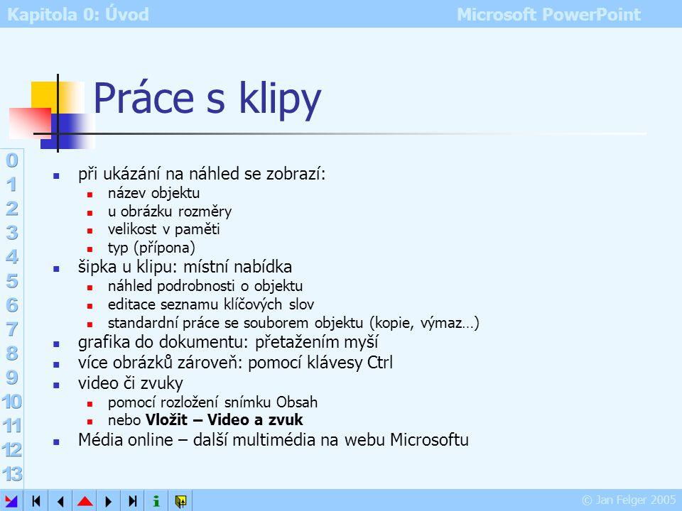 Kapitola 0: Úvod Microsoft PowerPoint © Jan Felger 2005 Kolekce klipartů Seznam kolekcí – zobrazí složky s multimediálními objekty Vlastní kolekce Sou