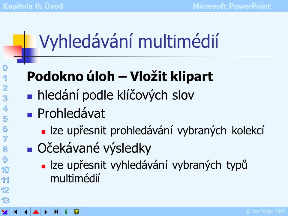 Kapitola 0: Úvod Microsoft PowerPoint © Jan Felger 2005 Práce s klipy při ukázání na náhled se zobrazí: název objektu u obrázku rozměry velikost v pam
