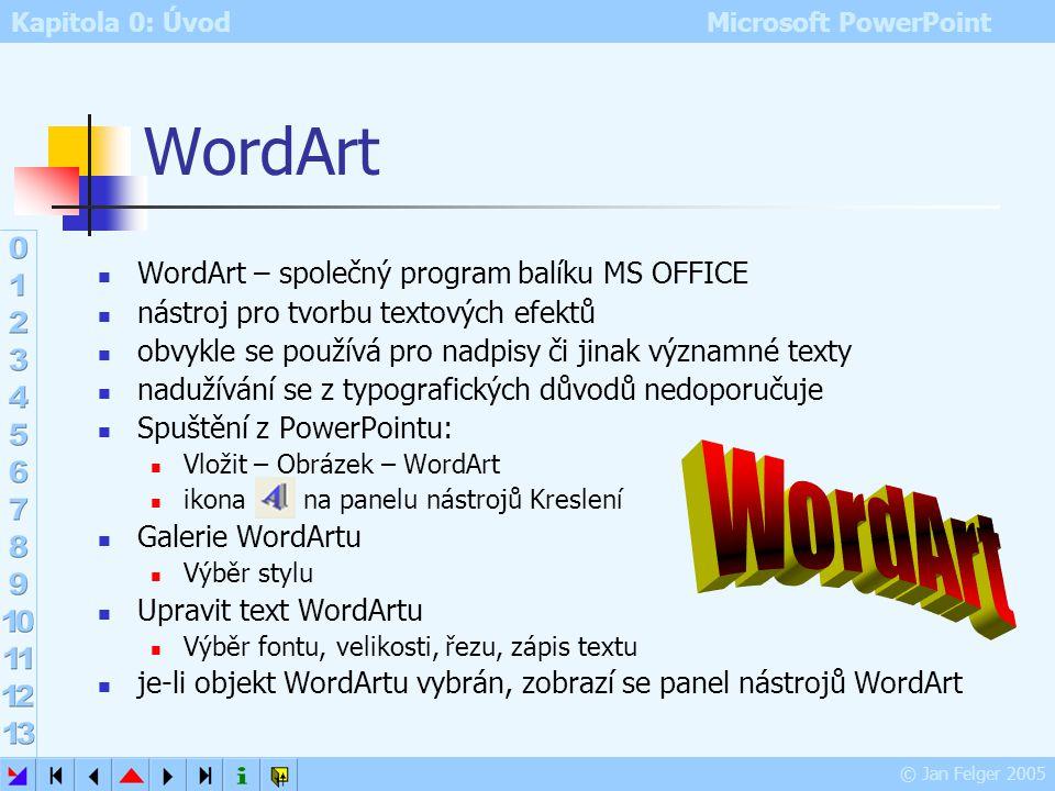 Kapitola 0: Úvod Microsoft PowerPoint © Jan Felger 2005 Vyhledávání multimédií Podokno úloh – Vložit klipart hledání podle klíčových slov Prohledávat