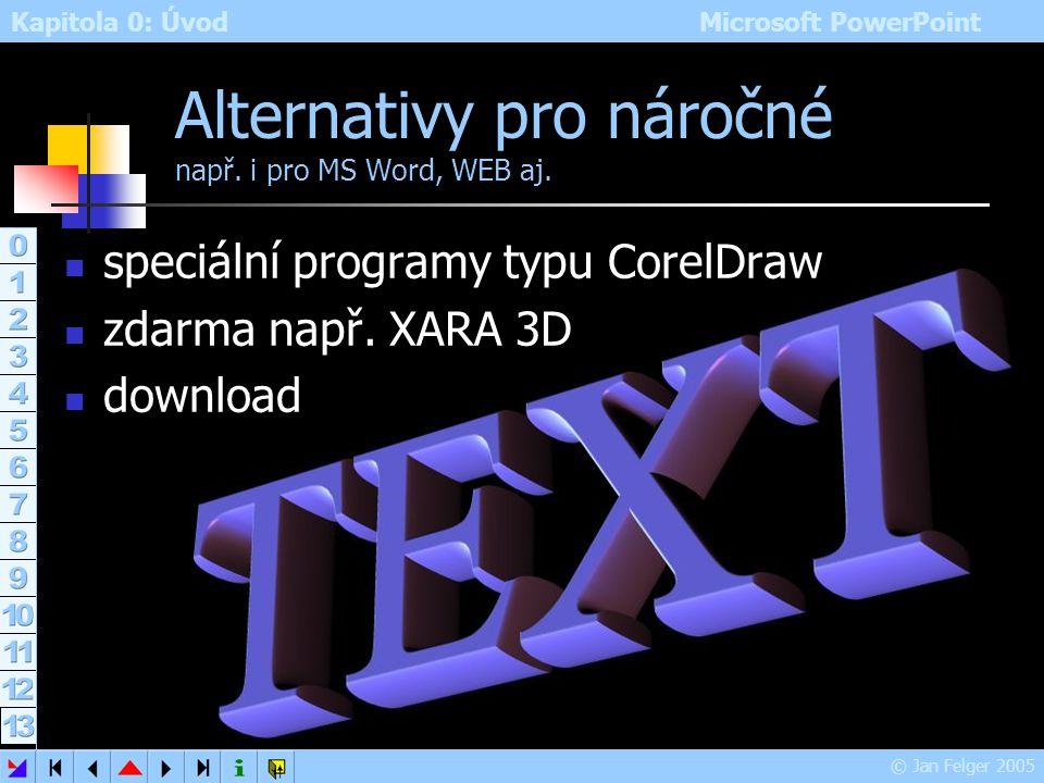 Kapitola 0: Úvod Microsoft PowerPoint © Jan Felger 2005 WordArt – ukázka 3 text vyplněný obrázkem