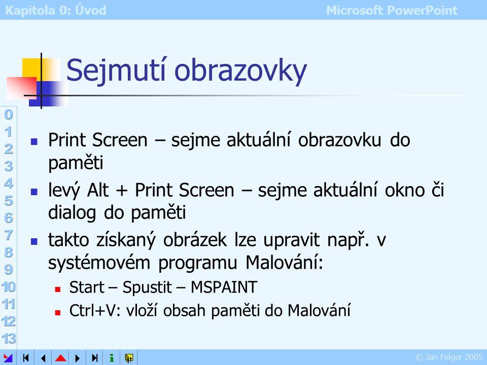 Kapitola 0: Úvod Microsoft PowerPoint © Jan Felger 2005 Alternativy pro náročné např. i pro MS Word, WEB aj. speciální programy typu CorelDraw zdarma