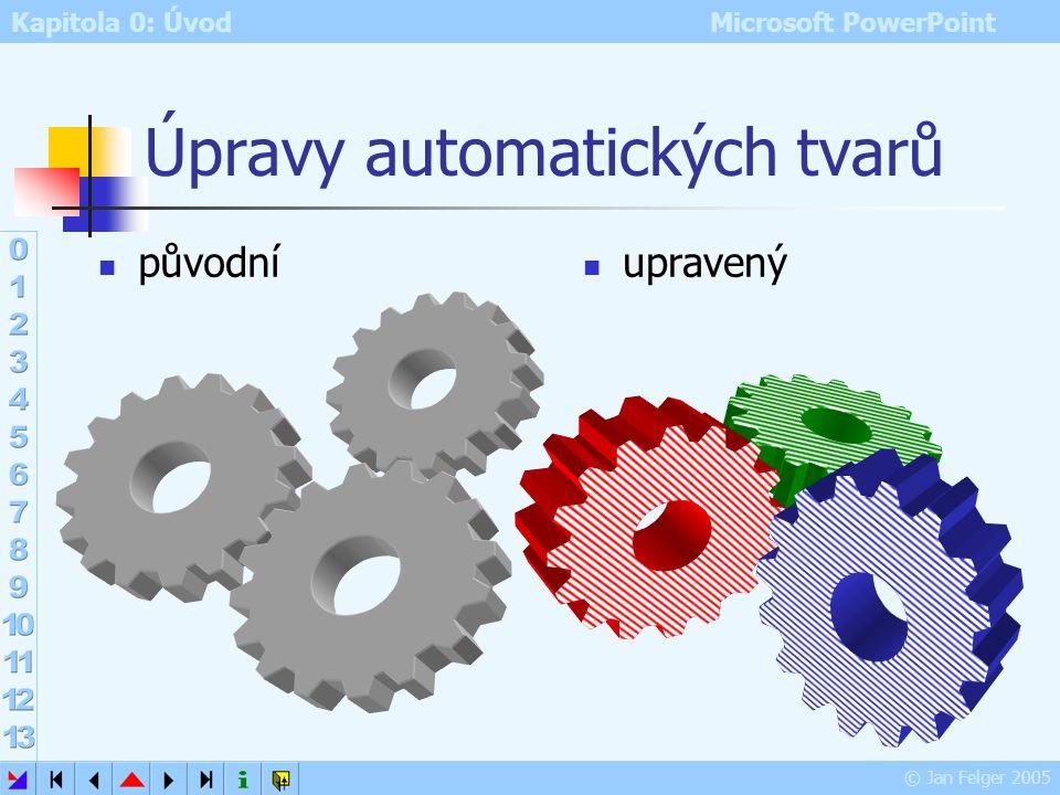 Kapitola 0: Úvod Microsoft PowerPoint © Jan Felger 2005 Vložení obrázku do PowerPointu Vložit – Obrázek – Ze souboru – vyhledat obrázek – Vložit Je-li