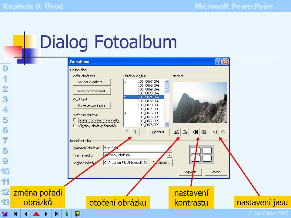 Kapitola 0: Úvod Microsoft PowerPoint © Jan Felger 2005 Fotoalbum Vložit – Obrázek – Nové fotoalbum Soubor či disketa – výběr obrázků – Vložit obrázky