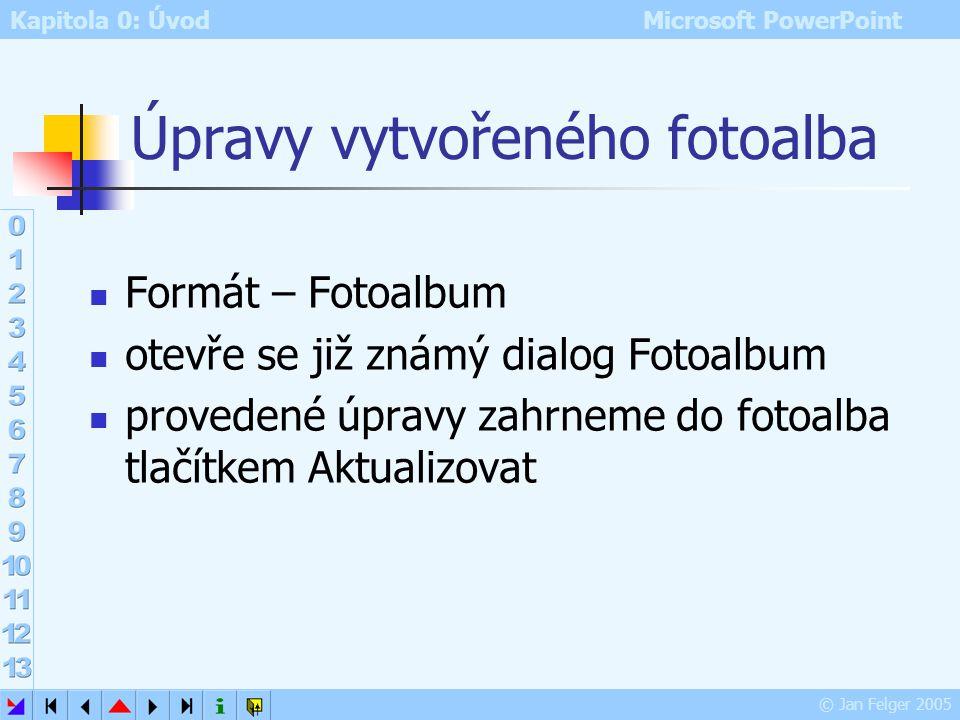 Kapitola 0: Úvod Microsoft PowerPoint © Jan Felger 2005 Rozložení fotoalba Rozložení obrázku – pokud máme speciální požadavky na počet obrázků na jedn
