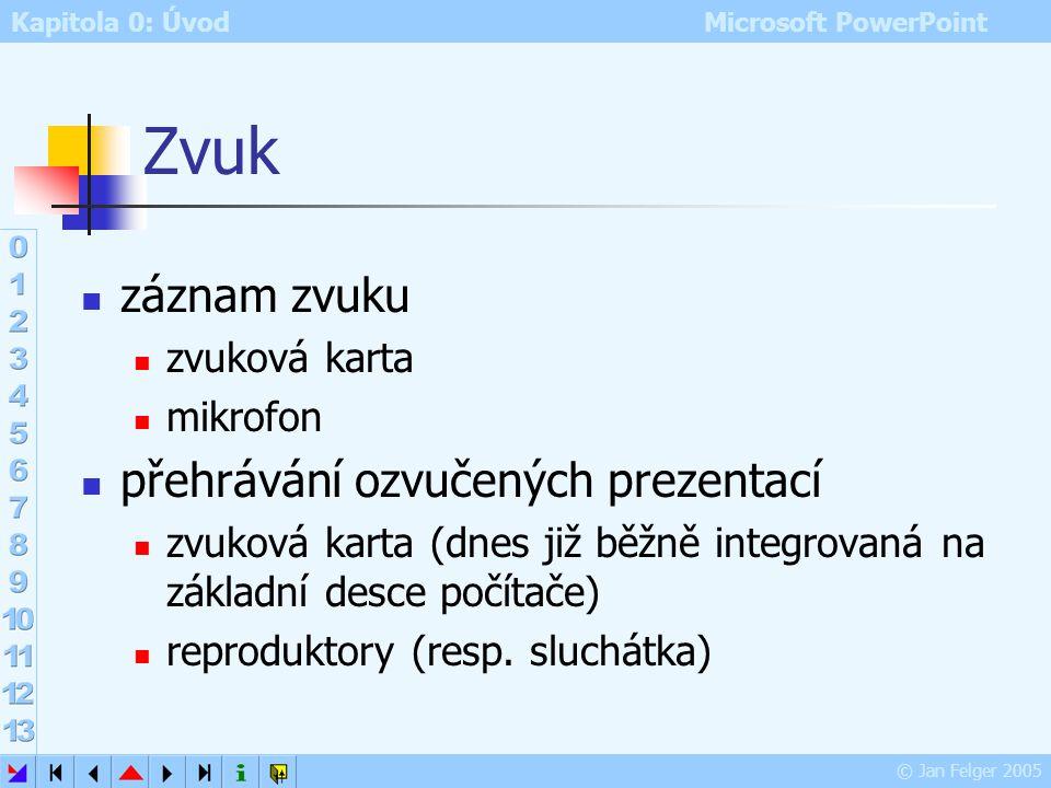 Kapitola 0: Úvod Microsoft PowerPoint © Jan Felger 2005 Úpravy vytvořeného fotoalba Formát – Fotoalbum otevře se již známý dialog Fotoalbum provedené
