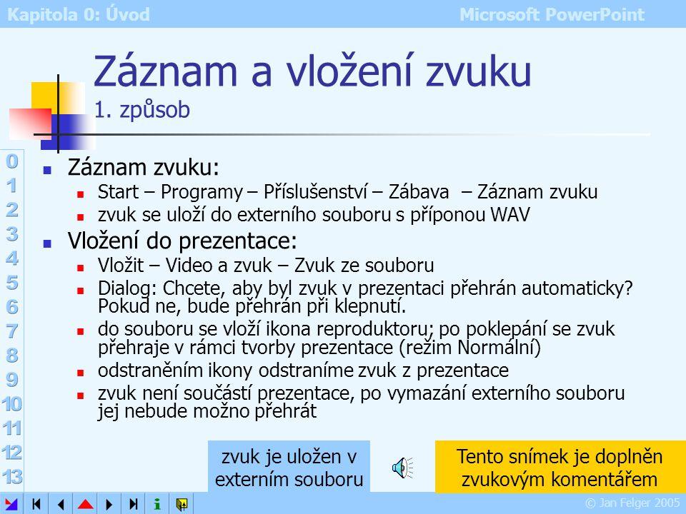 Kapitola 0: Úvod Microsoft PowerPoint © Jan Felger 2005 Ozvučená prezentace Zvuk v PowerPointu může doprovázet animace a přechody mezi snímky (diskuta