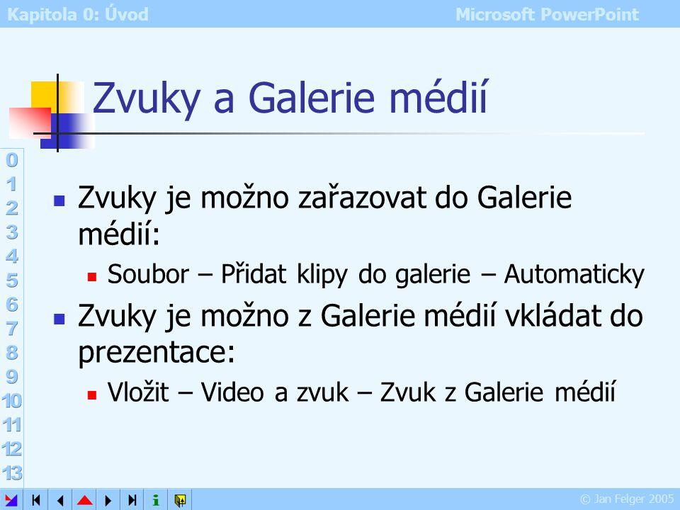 Kapitola 0: Úvod Microsoft PowerPoint © Jan Felger 2005 Záznam a vložení zvuku 3. způsob Záznam zvuku: Prezentace – Zaznamenat mluvený komentář Přehrá
