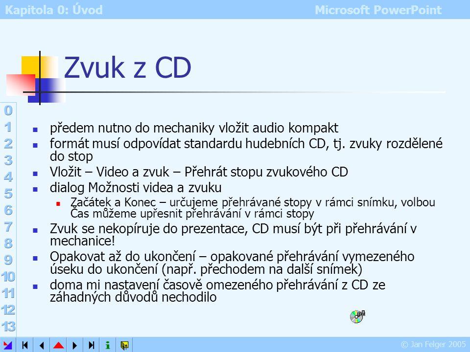 Kapitola 0: Úvod Microsoft PowerPoint © Jan Felger 2005 Zvuky a Galerie médií Zvuky je možno zařazovat do Galerie médií: Soubor – Přidat klipy do gale