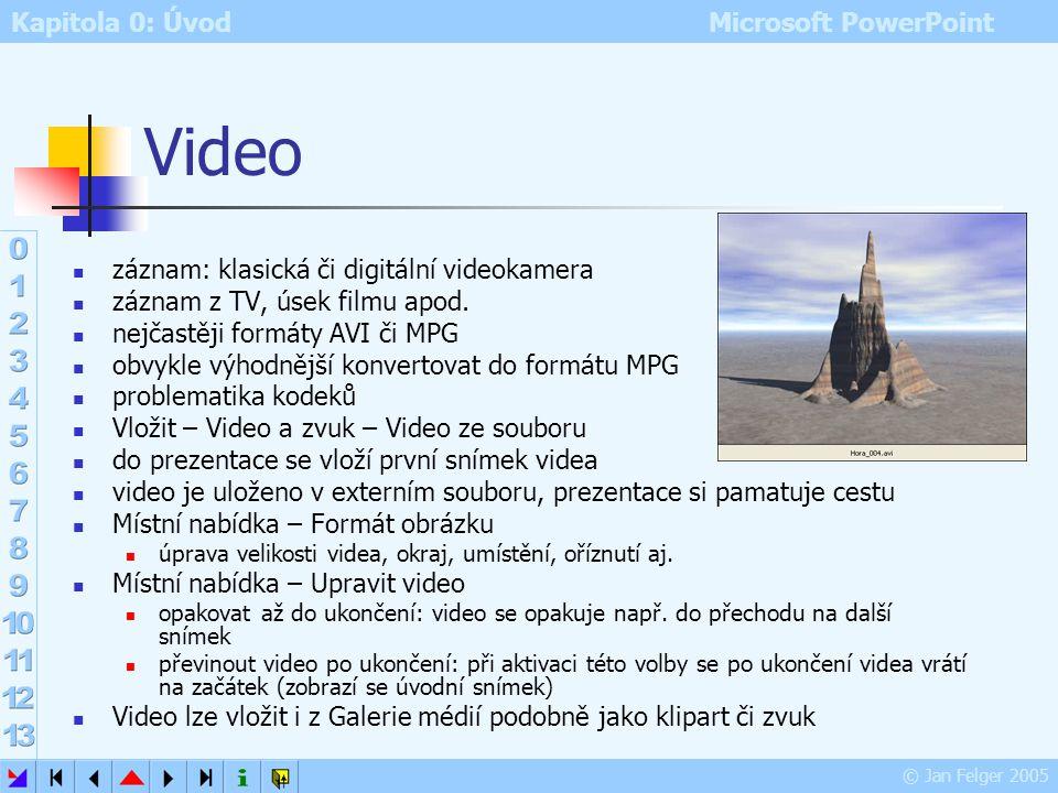 Kapitola 0: Úvod Microsoft PowerPoint © Jan Felger 2005 Zvuk z CD předem nutno do mechaniky vložit audio kompakt formát musí odpovídat standardu hudeb