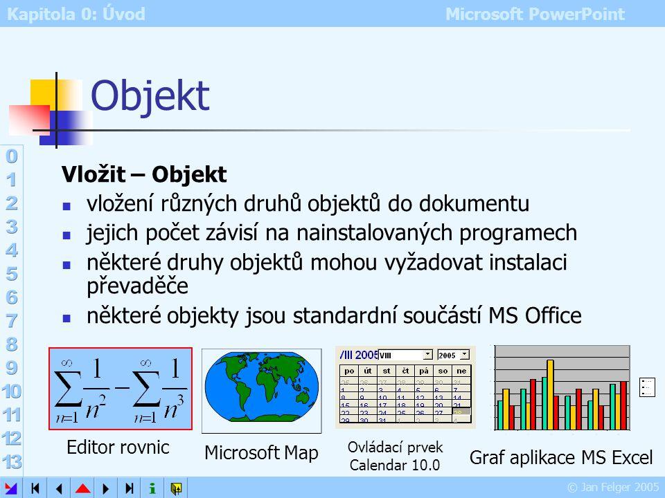 Kapitola 0: Úvod Microsoft PowerPoint © Jan Felger 2005 Video záznam: klasická či digitální videokamera záznam z TV, úsek filmu apod. nejčastěji formá