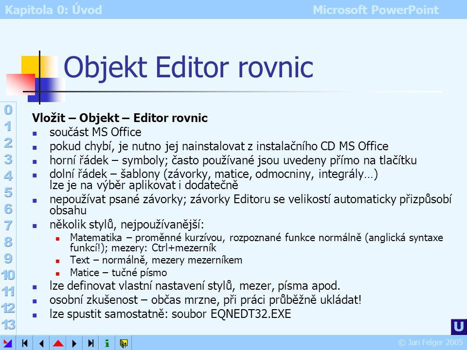 Kapitola 0: Úvod Microsoft PowerPoint © Jan Felger 2005 Objekt Vložit – Objekt vložení různých druhů objektů do dokumentu jejich počet závisí na nains