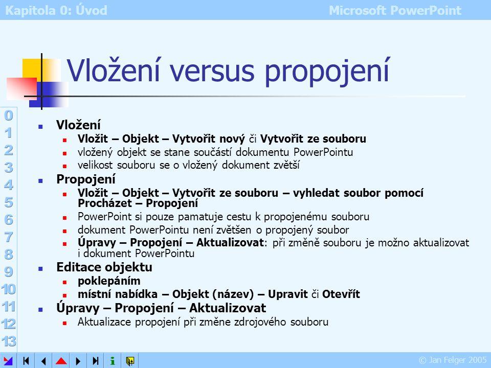 Kapitola 0: Úvod Microsoft PowerPoint © Jan Felger 2005 Objekt Editor rovnic Vložit – Objekt – Editor rovnic součást MS Office pokud chybí, je nutno j