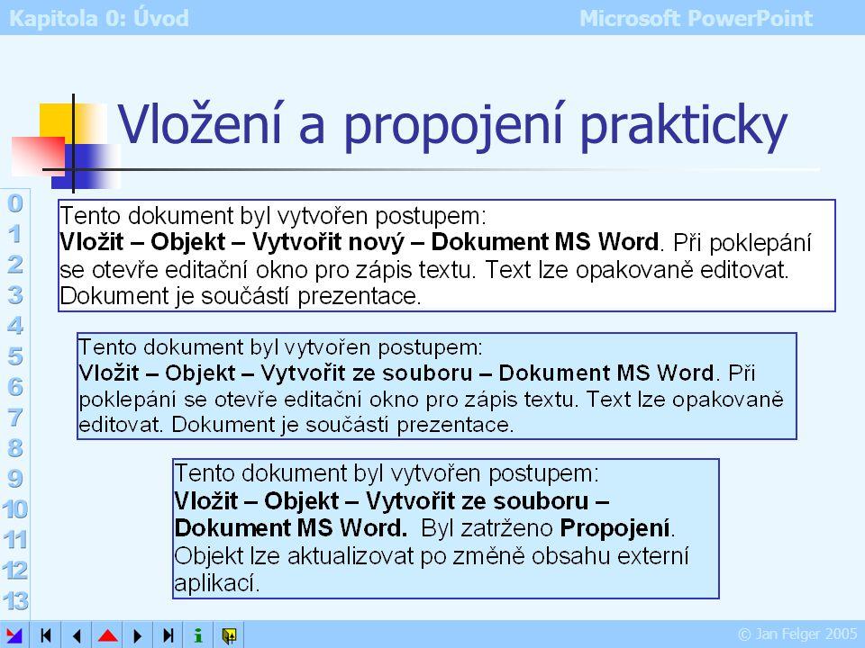 Kapitola 0: Úvod Microsoft PowerPoint © Jan Felger 2005 Vložení versus propojení Vložení Vložit – Objekt – Vytvořit nový či Vytvořit ze souboru vložen