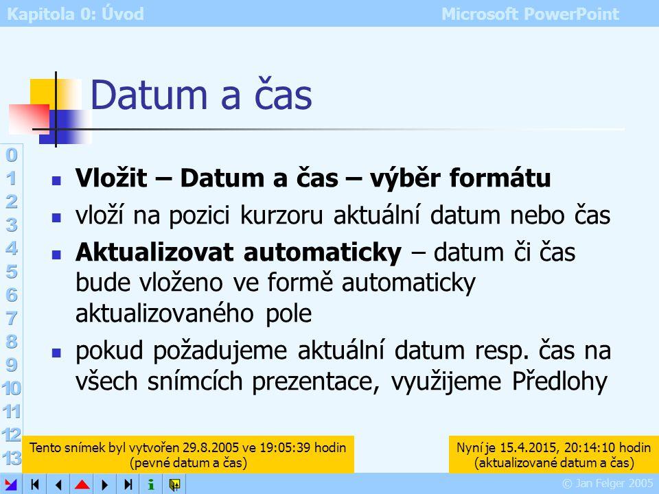 Kapitola 0: Úvod Microsoft PowerPoint © Jan Felger 2005 Číslo snímku Vložit – Číslo snímku vloží na pozici kurzoru číslo aktuálního snímku toto číslo
