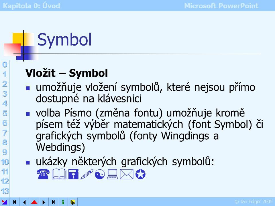 Kapitola 0: Úvod Microsoft PowerPoint © Jan Felger 2005 Datum a čas Vložit – Datum a čas – výběr formátu vloží na pozici kurzoru aktuální datum nebo č