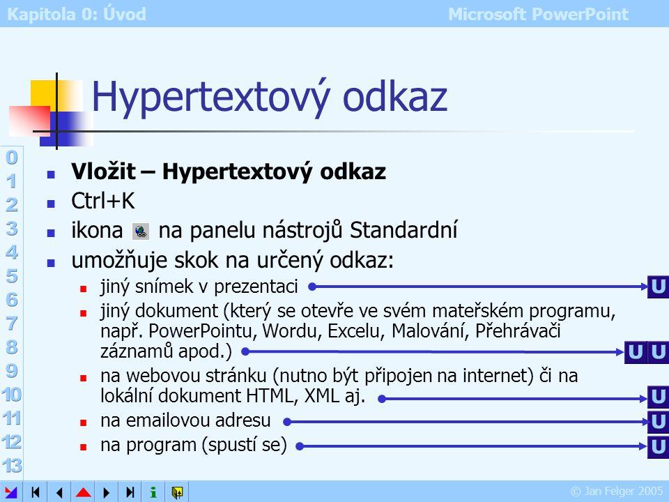 Kapitola 0: Úvod Microsoft PowerPoint © Jan Felger 2005 Panel nástrojů Revize Značky: vypne/obrazí značky komentářů Recenzenti: pro případ revize prez