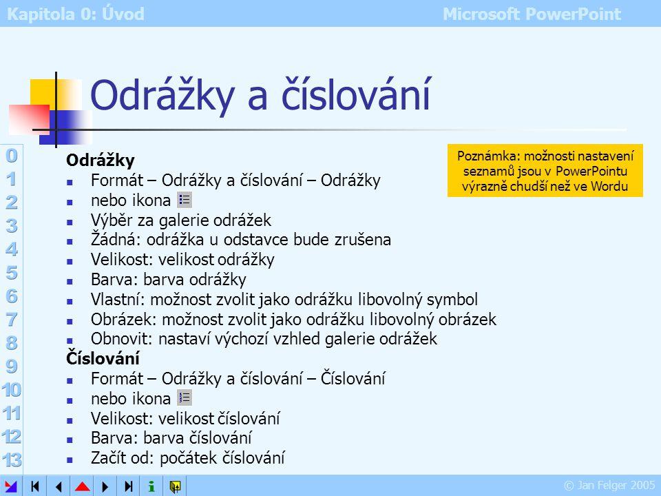 Kapitola 0: Úvod Microsoft PowerPoint © Jan Felger 2005 Písmo Formát – Písmo Písmo (druh písma čili font) Řez písma (varianty téhož fontu) Velikost (v