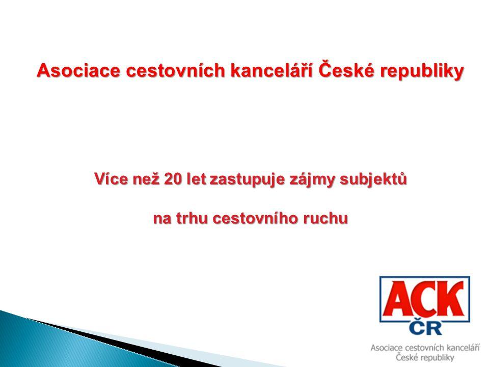 Asociace cestovních kanceláří České republiky Více než 20 let zastupuje zájmy subjektů na trhu cestovního ruchu