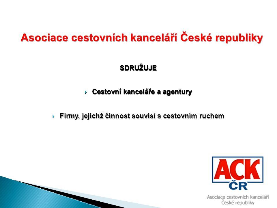 Asociace cestovních kanceláří České republiky Asociace cestovních kanceláří České republiky SDRUŽUJE  Cestovní kanceláře a agentury  Firmy, jejichž