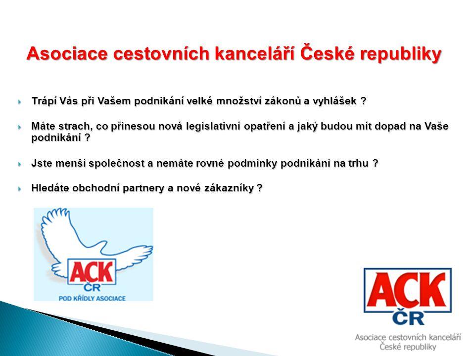  Ročně pořádáme 4 – 5 prezentací památkových objektů  Pravidelně publikujeme v odborném tisku cestovního ruchu (COT, Všudybyl, TTG)  Spolupracujeme s řadou významných webových serverů, které informují o naší činnosti  Umožňujeme vystavovat na významných veletrzích cestovního ruchu v rámci expozice ACK za velmi výhodných podmínek Výhody členství v ACK ČR Výhody členství v ACK ČR Jak to děláme?