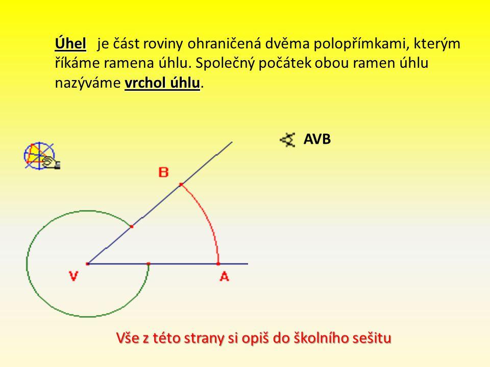 Úhel vrchol úhlu Úhel je část roviny ohraničená dvěma polopřímkami, kterým říkáme ramena úhlu. Společný počátek obou ramen úhlu nazýváme vrchol úhlu.