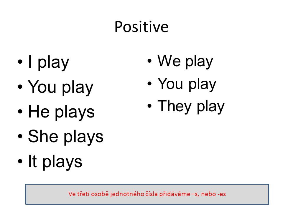 Positive I play You play He plays She plays It plays We play You play They play Ve třetí osobě jednotného čísla přidáváme –s, nebo -es