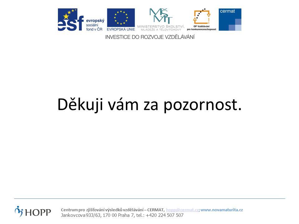 Centrum pro zjišťování výsledků vzdělávání – CERMAT, hopp@cermat.cz; www.novamaturita.czhopp@cermat.cz Jankovcova 933/63, 170 00 Praha 7, tel.: +420 224 507 507 Děkuji vám za pozornost.