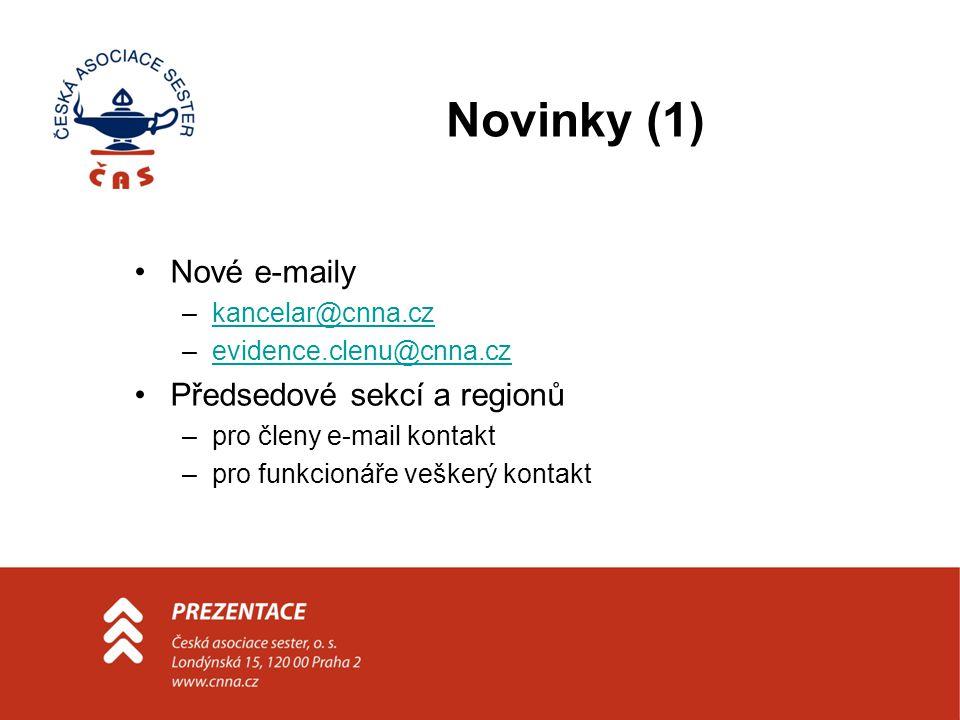 Novinky (1) Nové e-maily –kancelar@cnna.czkancelar@cnna.cz –evidence.clenu@cnna.czevidence.clenu@cnna.cz Předsedové sekcí a regionů –pro členy e-mail kontakt –pro funkcionáře veškerý kontakt