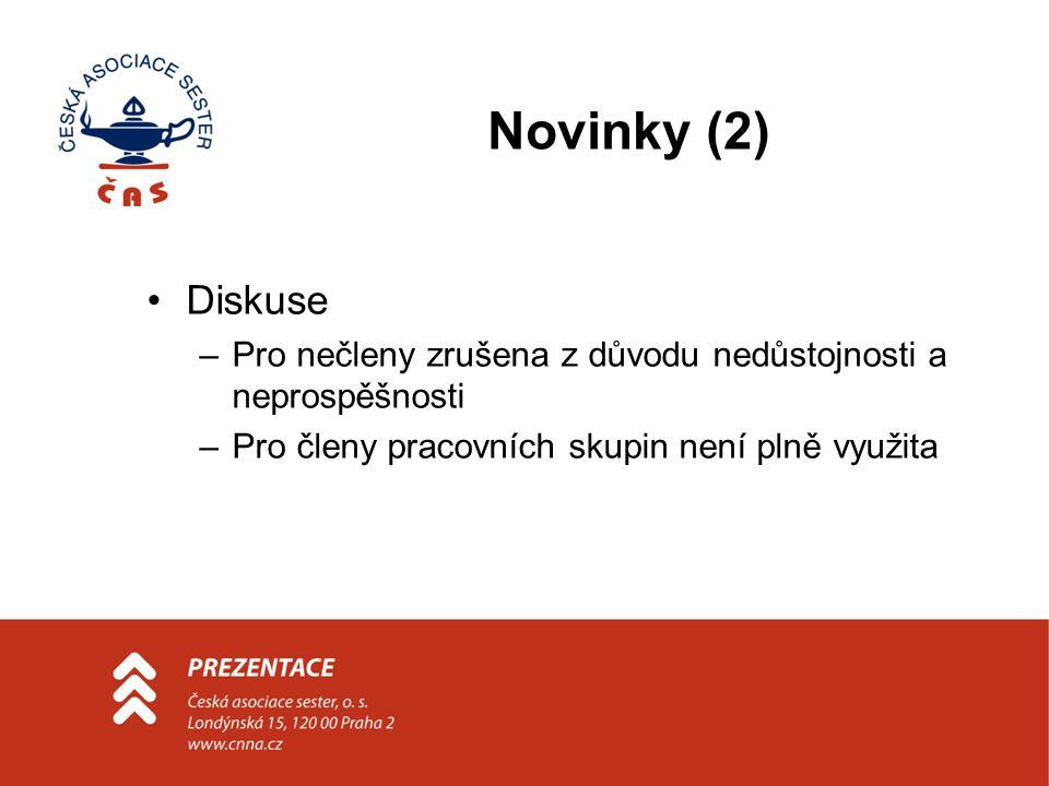 Novinky (2) Diskuse –Pro nečleny zrušena z důvodu nedůstojnosti a neprospěšnosti –Pro členy pracovních skupin není plně využita