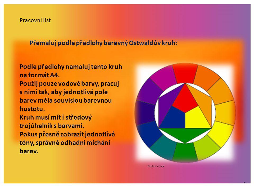 ©c.zuk Pracovní list Přemaluj podle předlohy barevný Ostwaldův kruh: Podle předlohy namaluj tento kruh na formát A4. Použij pouze vodové barvy, pracuj