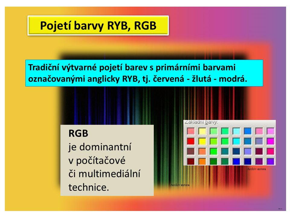©c.zuk Pojetí barvy RYB, RGB Tradiční výtvarné pojetí barev s primárními barvami označovanými anglicky RYB, tj. červená - žlutá - modrá. RGB je domina