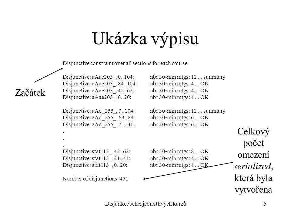 Disjunkce sekcí jednotlivých kurzů7 Výsledky pro 3x50_2x75_1x50_2x50 V následující tabulce jsou uvedeny dosažené výsledky pro datovou sadu 3x50_2x75_1x50_2x50.