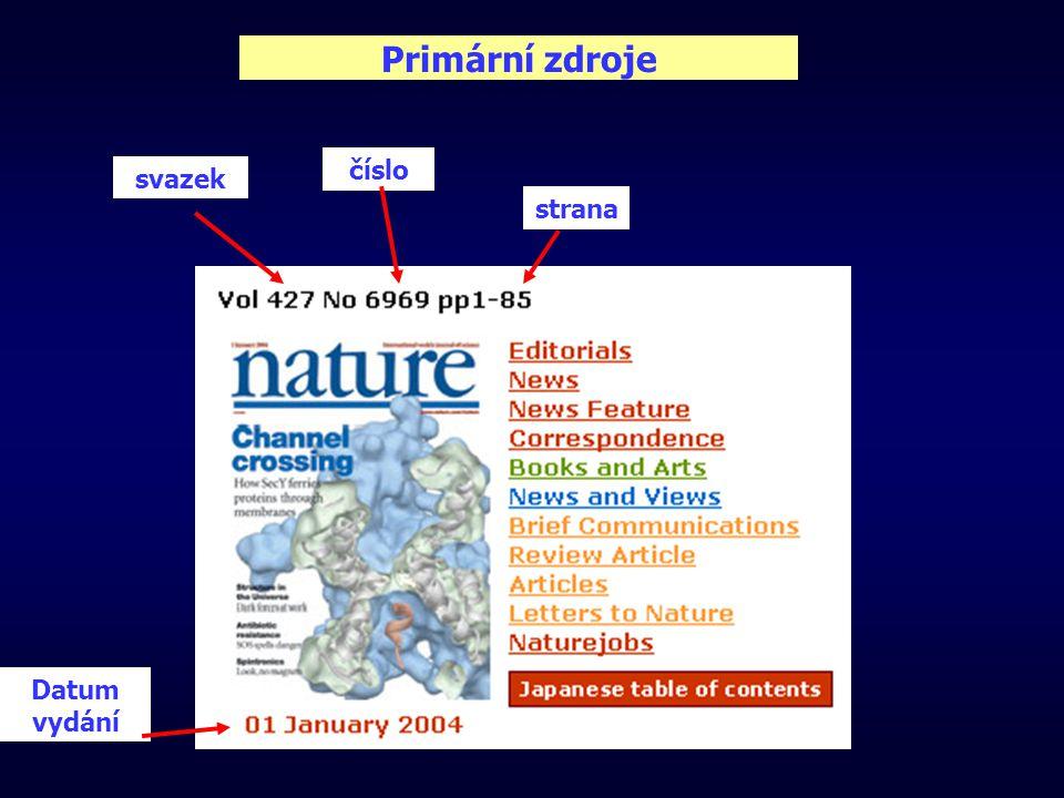 Primární zdroje svazek číslo strana Datum vydání