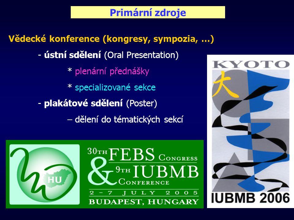 Primární zdroje Vědecké konference (kongresy, sympozia, …) - ústní sdělení (Oral Presentation) * plenární přednášky * specializované sekce - plakátové sdělení (Poster) – dělení do tématických sekcí