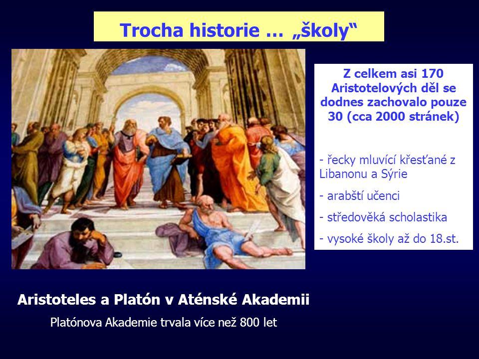 """Trocha historie … """"školy Aristoteles a Platón v Aténské Akademii Platónova Akademie trvala více než 800 let Z celkem asi 170 Aristotelových děl se dodnes zachovalo pouze 30 (cca 2000 stránek) - řecky mluvící křesťané z Libanonu a Sýrie - arabští učenci - středověká scholastika - vysoké školy až do 18.st."""