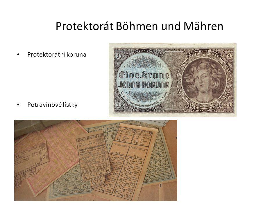 Protektorát Böhmen und Mähren Protektorátní koruna Potravinové lístky
