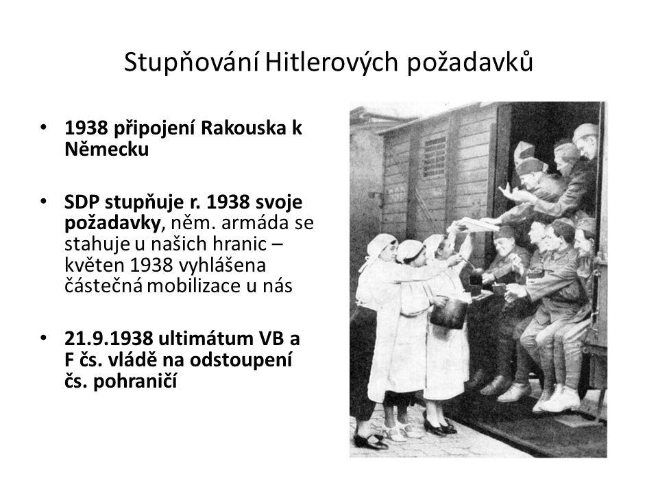 Stupňování Hitlerových požadavků 1938 připojení Rakouska k Německu SDP stupňuje r. 1938 svoje požadavky, něm. armáda se stahuje u našich hranic – květ