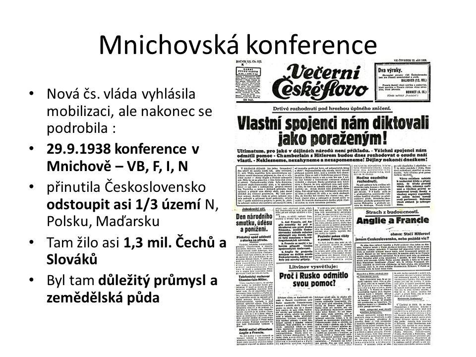 Mnichovská konference Nová čs. vláda vyhlásila mobilizaci, ale nakonec se podrobila : 29.9.1938 konference v Mnichově – VB, F, I, N přinutila Českoslo