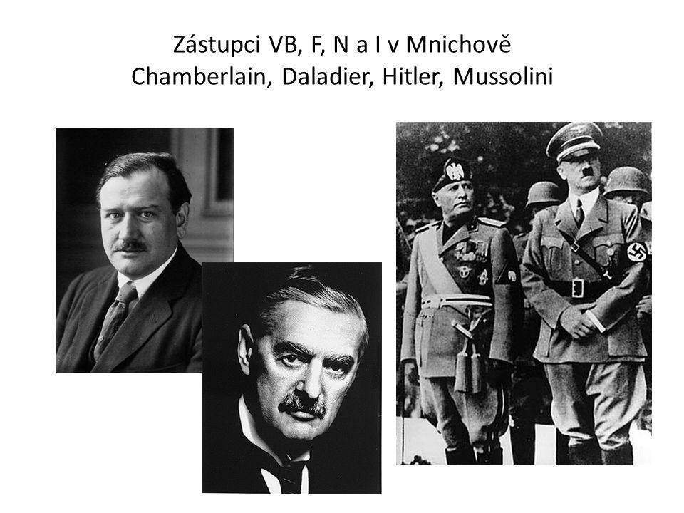 Zástupci VB, F, N a I v Mnichově Chamberlain, Daladier, Hitler, Mussolini