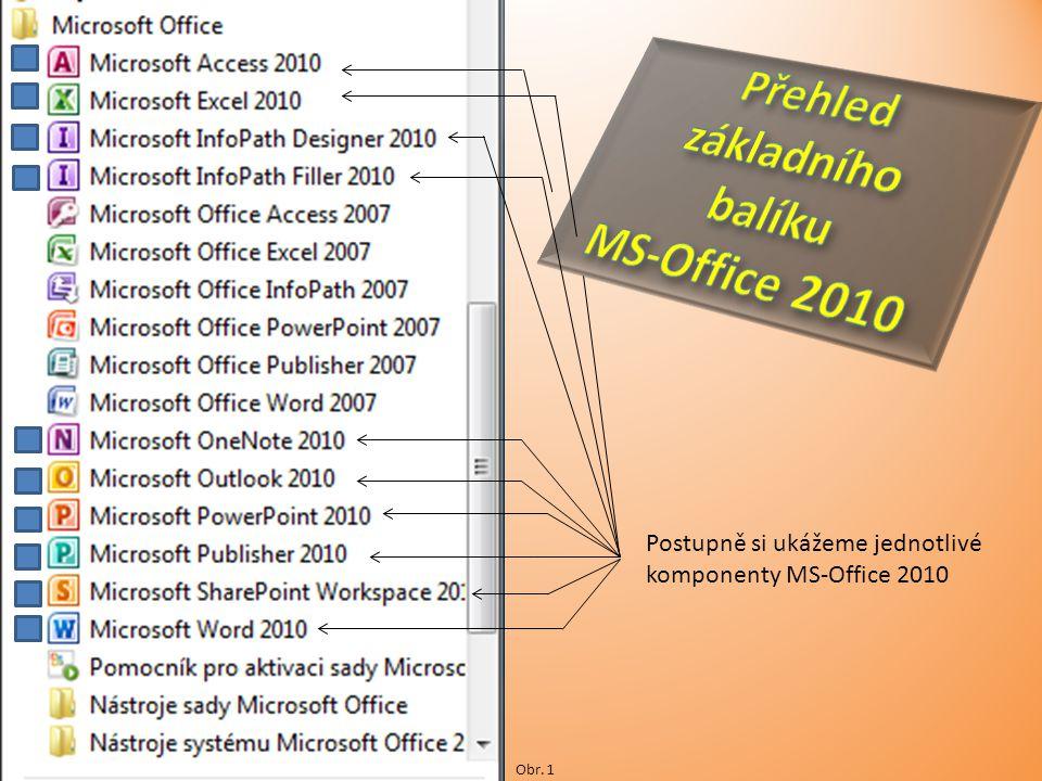 Postupně si ukážeme jednotlivé komponenty MS-Office 2010 Obr. 1
