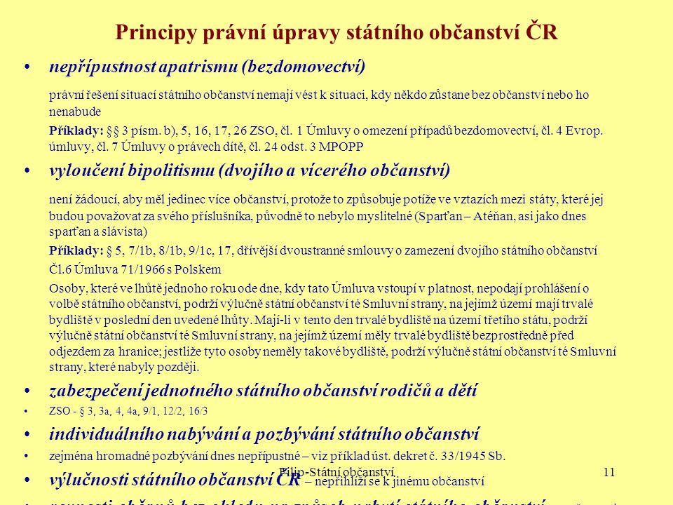 Filip-Státní občanství11 Principy právní úpravy státního občanství ČR nepřípustnost apatrismu (bezdomovectví) právní řešení situací státního občanství